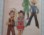 Childs Western Outfit for Boys and Girls Size 6 Vintage 1970's Simplicity Pattern 5332  Cut/Complete Costume Halloween Play Dress-Up