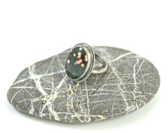 Ocean Jasper Ring in Sterling Silver - Size 6.5 - Handcrafted Stone Ring