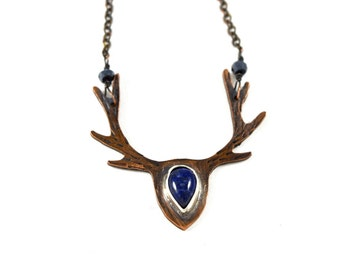 Deer Antler Necklace in Copper- God of the Forest Necklace- Lapis Lazuli Gemstone Necklace- Hand Cut- Stag Jewelry