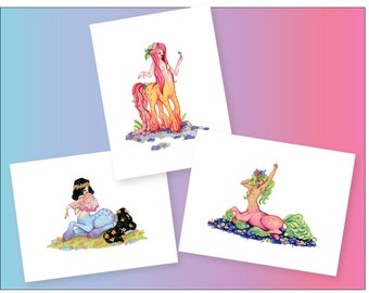 Centaurette Print pack, 3 print illustrations from Rudy Fig, whimsical art colorful print set