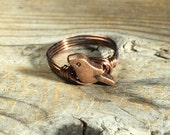 size 7.25 , 7 1/4 - antique copper metal Bird , wire wrapped ring - animal totem simple minimalist women men unisex jewelry sky fly