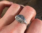 size 8.25 , 8 1/4 -  Silver metal spiral beaded , wire wrapped wrap ring - women men unisex girl boy minimalist tribal bohemian jewelry