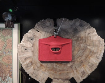 I.D.  Badge Holder: Red Leather and Gold Eye