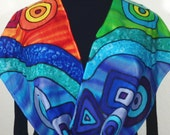 Silk Scarf Hand Painted. Blue, Green, Red Handmade Silk Scarf, RETRO DREAM. Size 11x60. Anniversary, Mother Gift. Gift-Wrapped