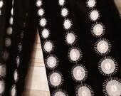 On hold black velvet palazzo pants mod high waist vintage white sunburst embroidery 60s Eddy George California size med large