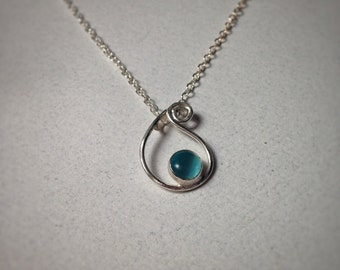 Sterling Silver Bailey Water Drop Charm Necklace with Aqua Blue Cat Eye Glass