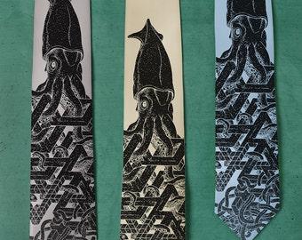 Squid Tie - SILK Giant Squid Necktie - Surreal Art - Gift for Boyfriend - Op Art - Silk Necktie - Surrealism - Weird Art - Impossible Squid