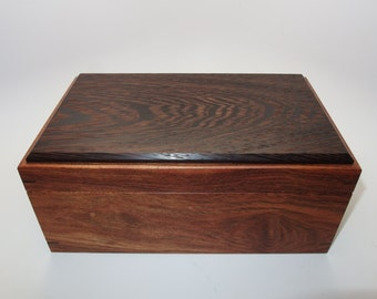 "Fine Exotic Keepsake Box. Exotic Chechen and Wenge Keepsake Box. 10.25"" x 6.25"" x 4.5"". Handcrafted Wooden Memory Box."