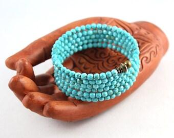 Turquoise Bracelet, Gemstone Wrap Bracelet, Memory Wire Bracelet, Wrap Bracelet, Yoga Jewelry, Cuff Bracelet, Gem Cuff, Bangle Bracelet
