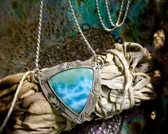 The Sea and Moon Witch- Larimar Necklace