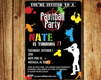 Paintball Party Invitation; Paintball Birthday Party Printable File