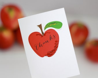 "Teacher Card ""THANKS"" - Teacher Card with Red Apple accented with glitter"