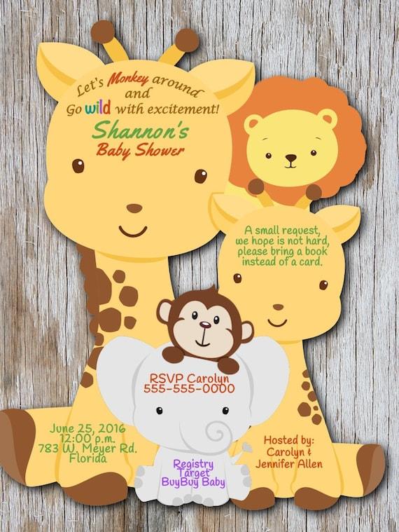 Giraffe Baby Shower Invitation Elephant Baby By