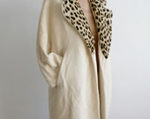 SALE Wool Peacoat with Leopard Fur