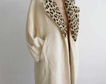 Wool Peacoat with Leopard Fur