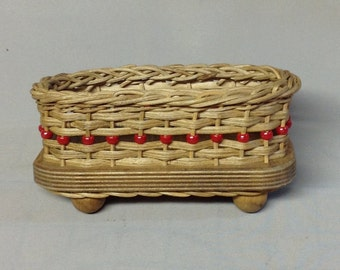 Business Card Basket with Wood Base and Ball Feet, Red Plastic Beads, Hand Woven