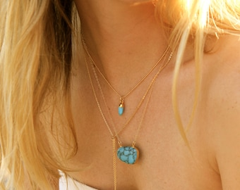 Tiny Bullet, Bullet Point, 14K Gold Filled, Gemstone Necklace, Gold Necklace, Layering Necklace, Turquoise, Labradorite, Mint, Petite