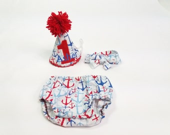Nautical Smash Cake Outfit....Anchors...Four Loves