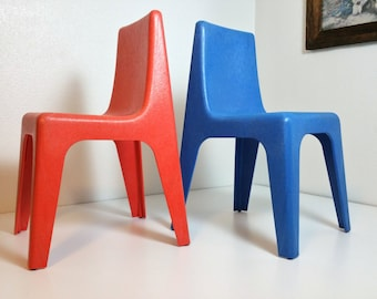 Mid Century Blue Red Stacking Children Chair Set