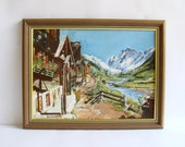 Swiss Chalet, Oil Painting, Snow Capped Mountains, Swiss Alps, Bright Colours, 1970s Art, Painterly Semi Abstract, Cabin Decor