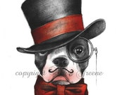 Boston Terrier edwardian gentleman in top hat and bow tie original color 4.25 x 5.5 inch art card