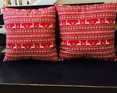 Ready to ship! Reindeer pillows, set of two, Christmas decor, holiday accent, fair isle, rustic Christmas, Christmas decoration