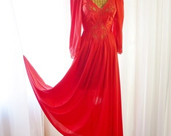 Olga Sleeved Red Nightgown New U.S.A. Made NOT An Import Size Medium