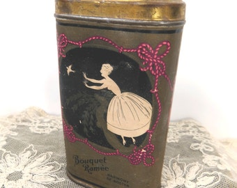 Antique Perfumed  Talcum Powder Shaker Tin, Bouquet Ramee by Harmony of Boston, Vanity Collectible