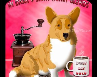 POSTER Corgi Coffee Comical Pet Art Print, Custom Dog Print, Large Wall Art, Dog Lover Gift, Dog Art Print, Modern Dog Art, from your photo