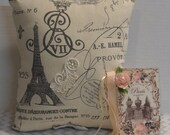 Paris Pillow, Shabby Chic Pillow, French Script,  Keepsack Pocket, Bridal Gift, Gift Enclosure Card