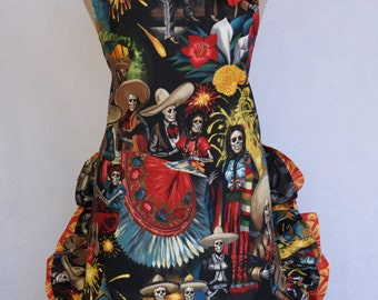 Women's Apron, Dia Los Muertos, Mariachi, Fiesta de San Marcos with removable Rose Pin/Hair Clip,
