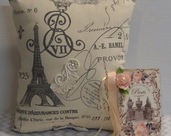 Paris Pillow, Shabby Chic Pillow, French Script,  Keepsack Pocket, Bridal Gift, Gift Enclosure Card