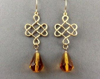 Chandelier Earrings Gold With Large Tangerine Crystal Teardrops