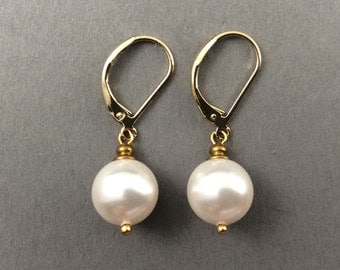 Drop Pearl Earrings Vintage Weddings Gold Earrings With White Round Swarovski Crystal Pearls