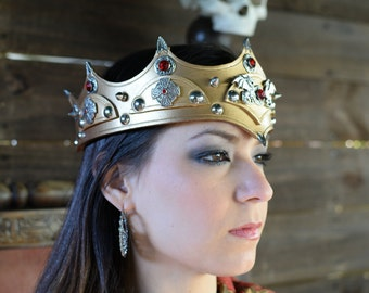 Deluxe Gold Regal Leather Medieval Crown Pirate King