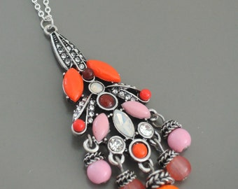 Silver Necklace - Opal Necklace - Coral Pink Necklace - Layerindng Necklace - Rhinestone Necklace - Colorful Necklace -  Boho Necklace