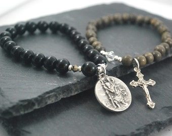 St Christopher Bracelets. Safe travels / Farewell gift, lovely idea for travellers. Mens bracelet set. Wood and black onyx Saint bracelets