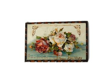 Antique Embossed Birthday Postcard in Copper Frame Double Sided Glass, Red & White Roses 1910 Postcard, Cottage Chic Vintage Home Decor
