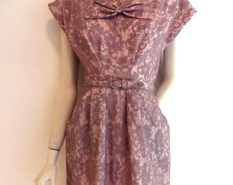 "Vintage 1950's/Lavender Lace Wiggle Dress Rhinestone Trim/Lavender Lace Illusion Dress/Lilac Lace Wiggle Dress/28"" Waist/Medium"