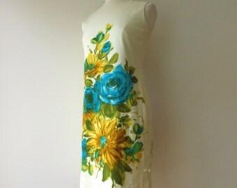 Vintage 1960's Yellow Floral Shift Dress Medium/60's Yellow Dress Medium/Yellow Flower Dress/60's Mod Floral Dress