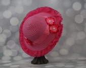 Tea Party Hat - Dark Pink Easter Bonnet with Dark Pink Satin Ribbon - Girls Sun Hat - Pink Easter Hat - Sunday Dress Hat - Derby Hat - 16202