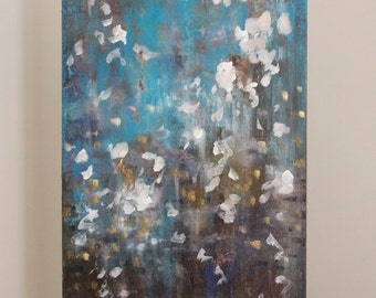 Dreamy Painting abstract painting Atmospheric painting Every Wish 12x 24 x 1.5  Swalla Studio