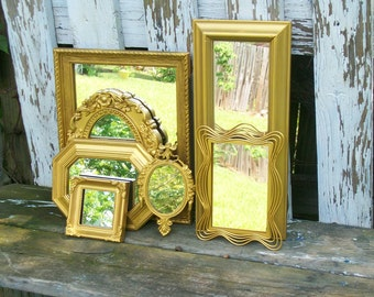 7 Ornate Bright Gold Wall Mirrors Shabby Chic Home Decor