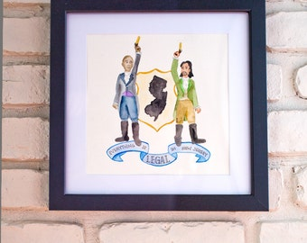Hamilton Everything is Legal in New Jersey Watercolor Giclee Print