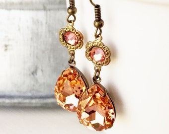 Blush Wedding Jewelry - Blush Bridal Jewelry - Blush Earrings - Double Stone Earrings - Blush Bridesmaid Earrings - Peach Bridal Jewelry