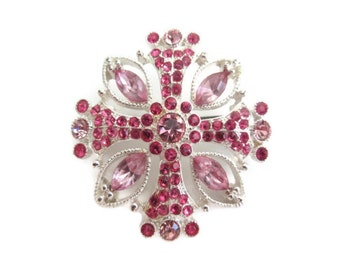 pink rhinestone cross brooch pin, vintage, religious cross, silver tone, Easter, wedding bridal, bridal bouquet
