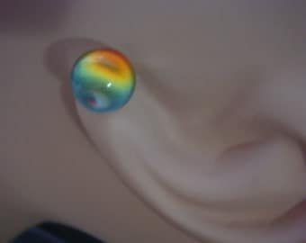 Rare Rainbow Vintage Crystal Ball Earrings Earth Tones
