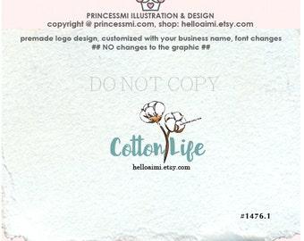 1476-1 Cotton logo, cotton flower, Custom Premade Logo Design , cotton illustration logo business logo boutique hand craft by princessmi