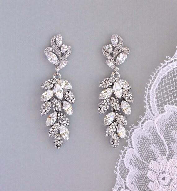 Bridal Chandelier Earrings, Crystal Leaf Earrings, SILVER or GOLD Earring Option, Bridal Jewelry, Wedding Jewelry, EMERALD