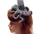 Grey Octopus Headband, Amigurumi Octopus, Octopus Costume, Metal Headband, Octopus Cosplay, Costume Headband, Octopus Hairband, Grey Octopus